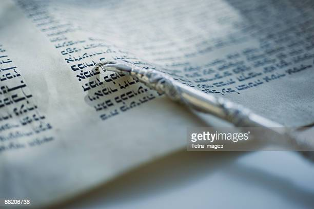 pointer laying on torah - torah stock photos and pictures