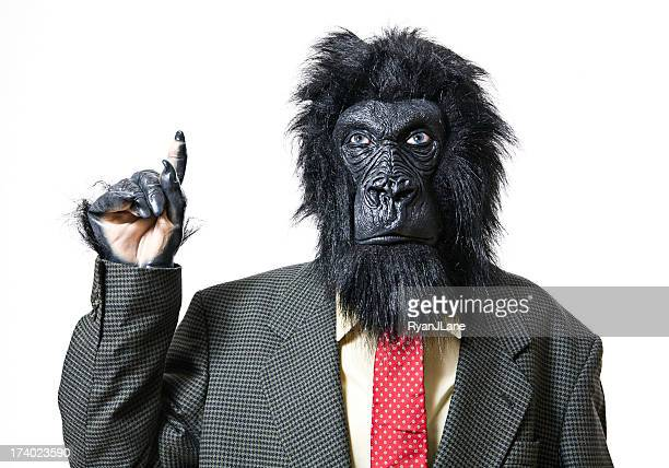 Pointing Business Gorilla Isolated on White