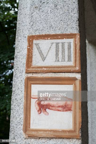 Pointing finger decorative detail of the 8th Chapel Vision of the flaming chariot Sacred Mountain of Orta Orta San Giulio Piedmont Italy