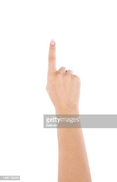 Pointing gesture on white background