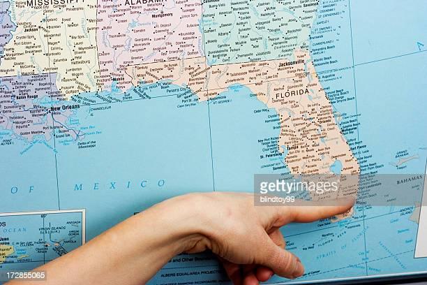 Pointing to Miami, Florida