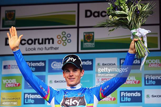 Points classification leader Ben Swift of Great Britain and Team SKY stands on the podium after stage six of the Tour of Britain from Bath to Hemel...