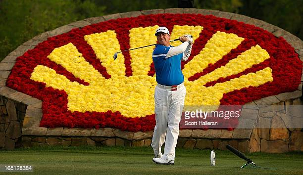 Points hits his tee shot on the 18th hole during the final round of the Shell Houston Open at the Redstone Golf Club on March 31, 2013 in Humble,...