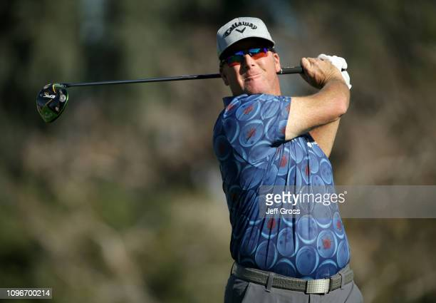 Points of the United States plays a shot on the 13th tee during the third round of the Desert Classic at La Quinta Country Club on January 19, 2019...