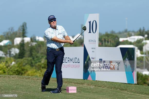 Points of the United States plays his shot from the tenth tee during the second round of the Bermuda Championship at Port Royal Golf Course on...