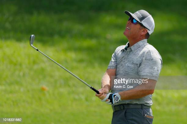 Points plays a shot from the tenth fairway during the second round of the Wyndham Championship at Sedgefield Country Club on August 17, 2018 in...