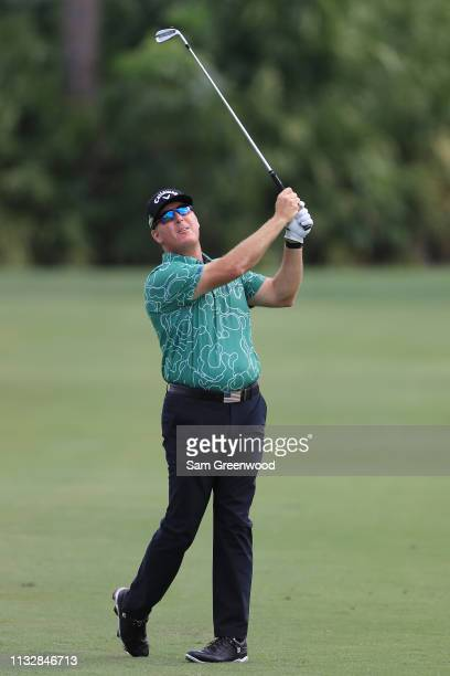 Points plays his second shot on the fourth hole during the first round of the Honda Classic at PGA National Resort and Spa on February 28, 2019 in...