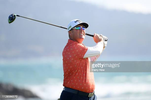 Points plays his shot from the 18th tee during the third round of the AT&T Pebble Beach Pro-Am at Pebble Beach Golf Links on February 09, 2019 in...