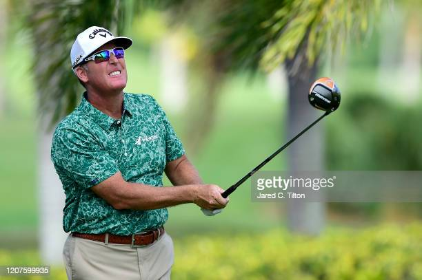 Points plays his shot from the second tee during the first round of the Puerto Rico Open at Coco Beach Golf and Country Club on February 20, 2020 in...