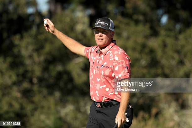 Points reacts after making birdie on the seventh green during Round One of the AT&T Pebble Beach Pro-Am at Spyglass Hill Golf Course on February 8,...