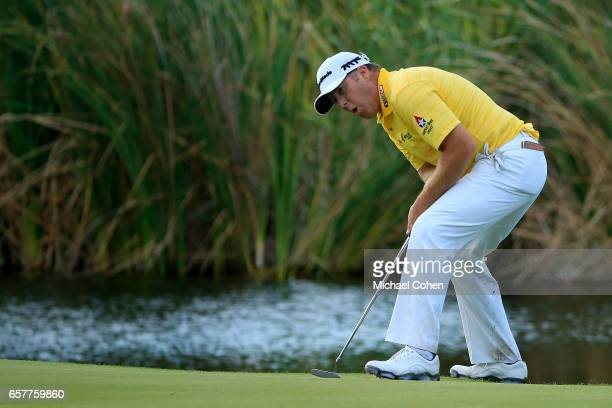 Points reacts after missing his birdie putt on the 17th green during the third round of the Puerto Rico Open at Coco Beach on March 25, 2017 in Rio...