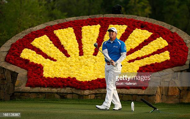 Points watches his tee shot on the 18th hole during the final round of the Shell Houston Open at the Redstone Golf Club on March 31, 2013 in Humble,...