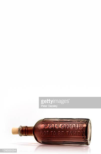 Poison bottle on white background with copy space