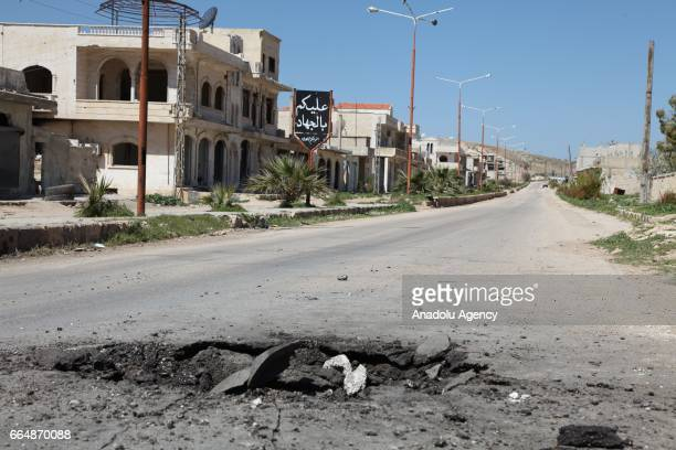 A poison hazard danger sign is seen in the town of Khan Shaykun Idlib province Syria on April 05 2017 On Tuesday more than 100 civilians had been...