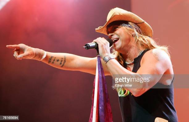 Poison singer Bret Michaels performs during a soldout show at the Pearl concert theater at the Palms Casino Resort August 17 2007 in Las Vegas Nevada...