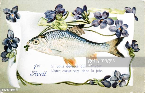 Poisson d'avril en illustration d'un calendrier accompagné du proverbe 'Si vous devinez qui voue l'envoie votre coeur sera dans la joie'