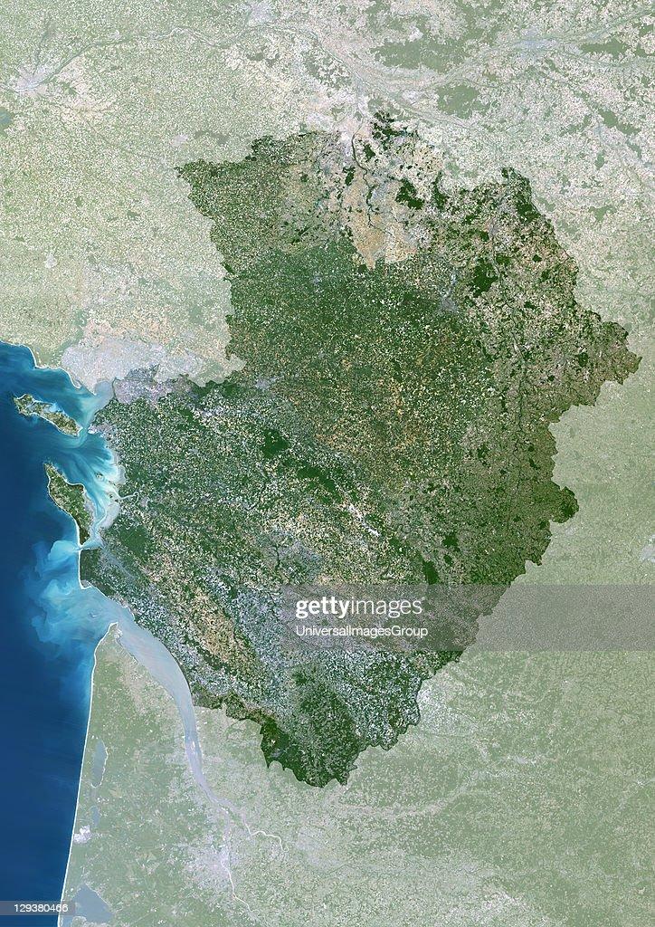 Poitou-Charentes Region, France, True Colour Satellite Image With Mask : News Photo