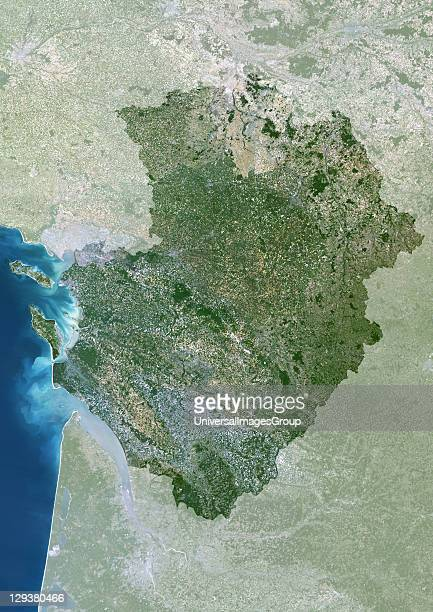Poitou Charentes region France true colour satellite image with mask This image was compiled from data acquired by LANDSAT 5 7 satellites...