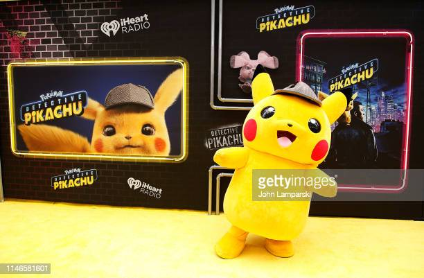 Pokemon character is seen during Pokemon Detective Pikachu US Premiere at Times Square on May 02 2019 in New York City