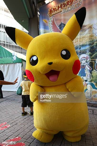 Pokemon game characters of Japanese video game manufacturer Nintendo are on display at the official Pokemon store in Tokyo Japan on 12 July 2016