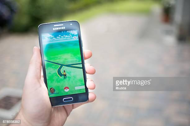 Pokemon go on Samsung smartphone outdoor