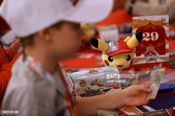 Pokemon plush toy sits on a table as contestants compete during the 2016 Pokemon World Championships on August 19 2016 in San Francisco California...