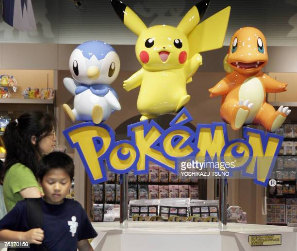 Pokemon popular game characters of Japanese video game giant Nintendo are displayed at a shop in Tokyo 25 July 2007 Nintendo said its net profit...