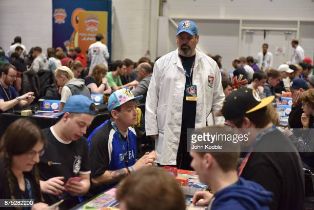 Pokemon Professor watches over competitors at the Pokemon European International Championships at ExCel on November 17 2017 in London England...