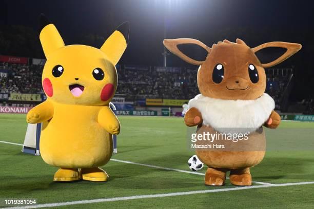 PokemonPikachu and Eevee are seen prior to the JLeague J1 match between Shonan Bellmare and Vissel Kobe at Shonan BMW Stadium Hiratsuka on August 19...