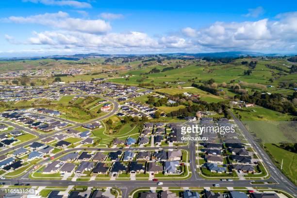 pokeno aerial view - urban sprawl stock pictures, royalty-free photos & images