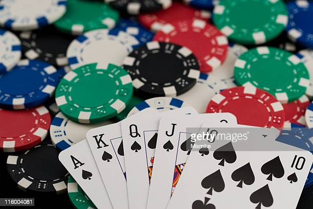 poker chips and cards - royal flush stock photos and pictures