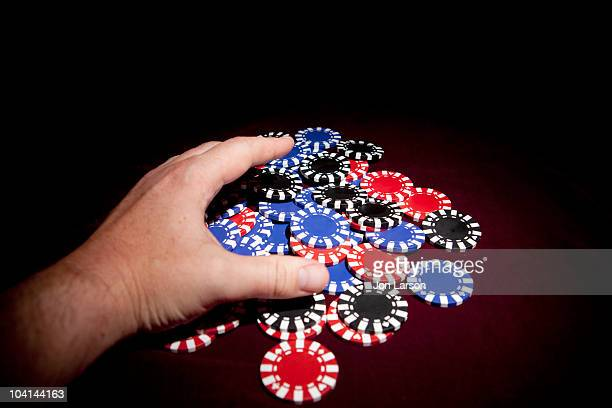 poker chips for gambling - gambling table stock pictures, royalty-free photos & images
