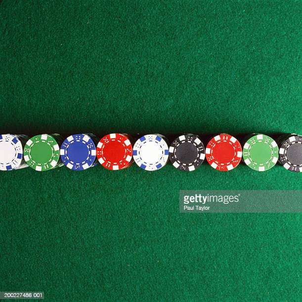 Poker chips lined up on casino table