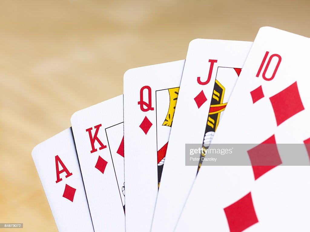 Poker hand diamond running flush. : Stock Photo