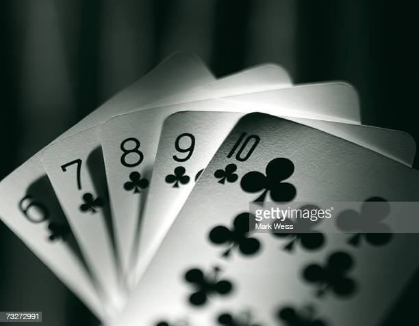 """""""poker hand, straight flush"""" - royal flush stock photos and pictures"""