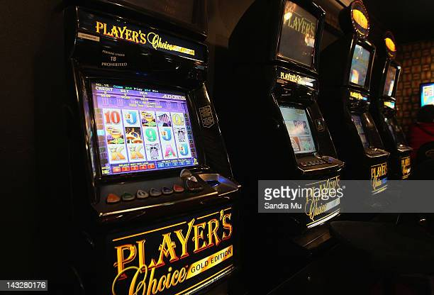A poker machines are seen on April 23 2012 in Auckland New Zealand The Government is supporting a deal with the SkyCity casino whereby the casino...