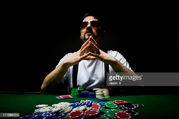 Poker Player contemplating