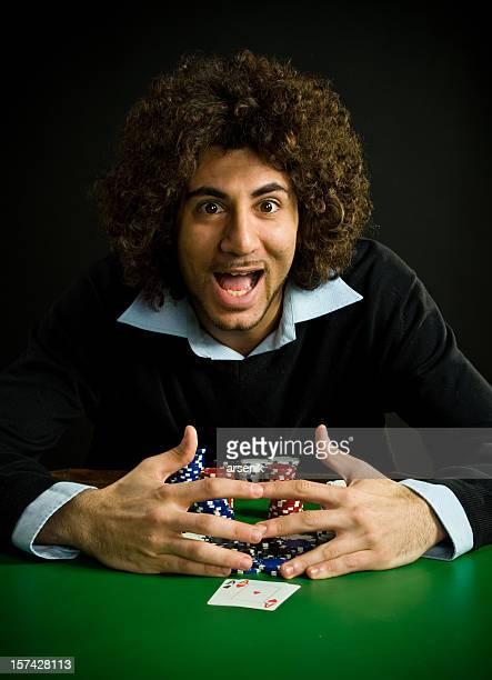 Poker player wins pot