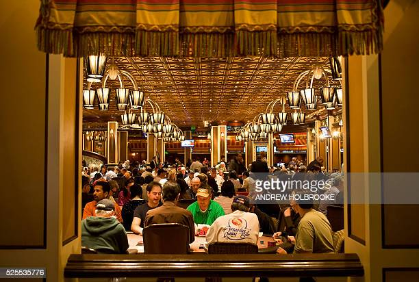 Poker players in the poker room in the Bellagio Hotel's casino