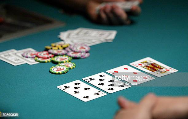 Poker players take part in the 2004 World Series of Poker Tournament held at the Binion's Horseshoe Hotel and Casino May 23 2004 in Las Vegas Nevada