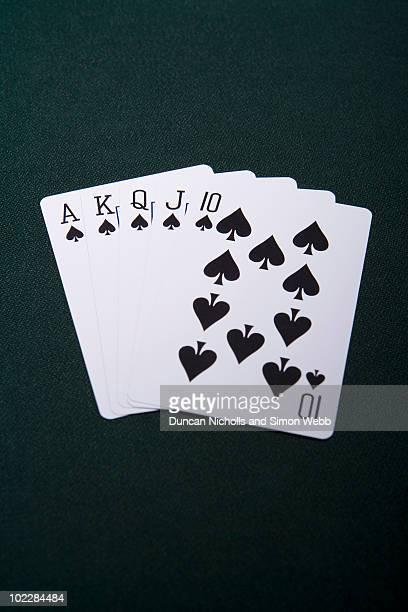 poker royal flush - royal flush stock photos and pictures