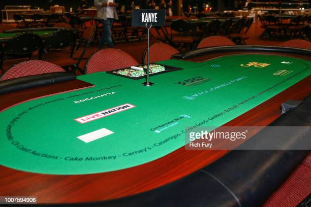 A poker table is seen at the first annual If Only Texas hold'em charity poker tournament benefiting City of Hope at The Forum on July 29 2018 in...