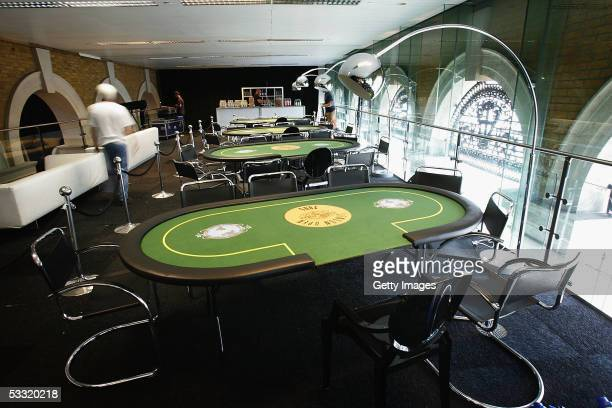 Poker tables are seen during preparations for the Opening Night Party of the first ever cards tournament hosted by online poker website World Poker...