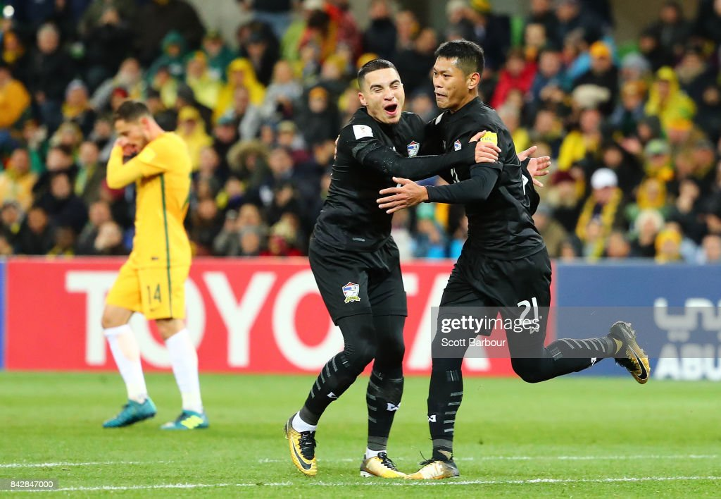 Pokkhao Anan of Thailand celebrates after scoring a goal during the 2018 FIFA World Cup Qualifier match between the Australian Socceroos and Thailand at AAMI Park on September 5, 2017 in Melbourne, Australia.