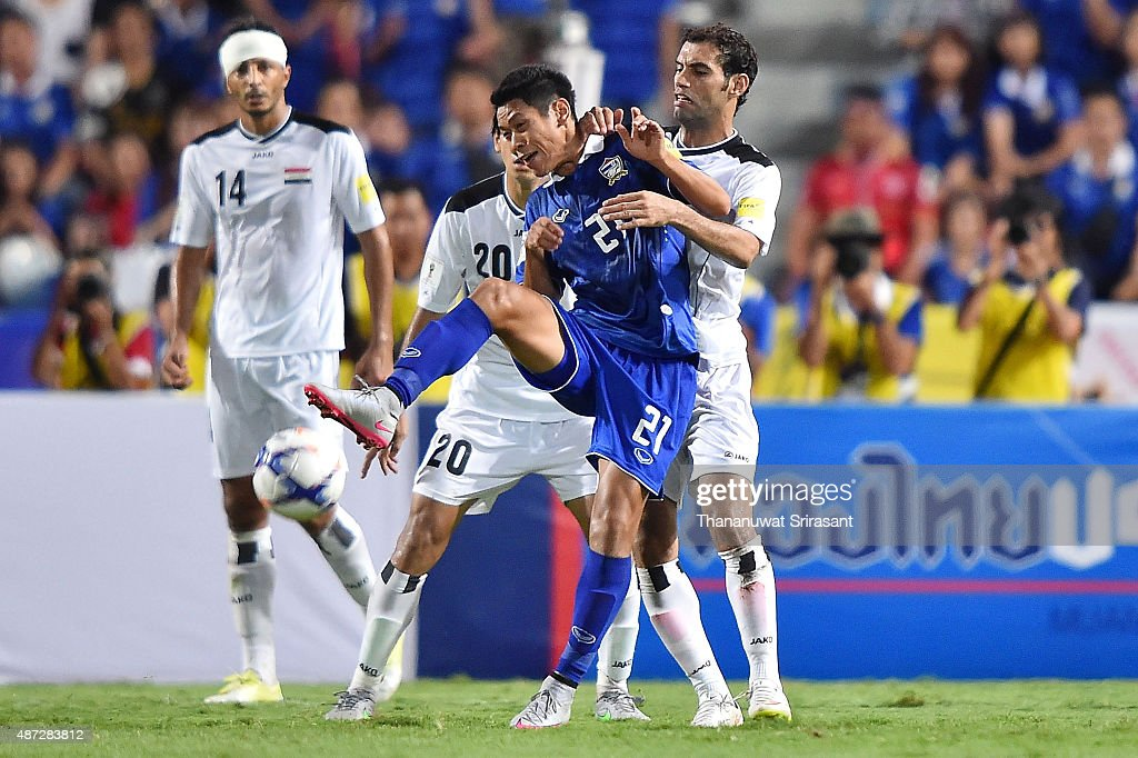 Pokklaw Anan #21 of Thailand competes for the ball during the 2018 FIFA World Cup Qualifier match between Thailand and Iraq at Rajamangala Stadium on September 8, 2015 in Bangkok, Thailand.
