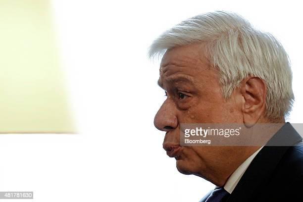 Pokopis Pavlopoulos Greece's president speaks during a meeting at the presidential palace with the Greek president and leaders of Greek political...
