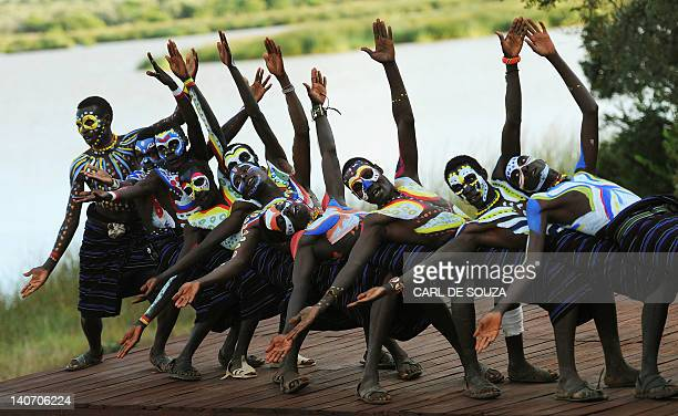 Pokot youths perform a dance at the Gallmann nature conservancy near Kinamba Laikipia Northern Kenya on March 4 2012 High Priest Shinso Ito and a...