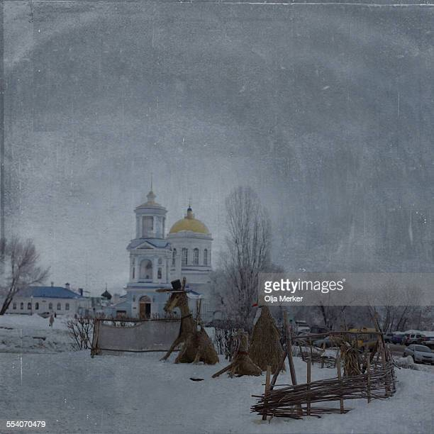 Pokrovsky cathedral in winter, Voronezh, Russia