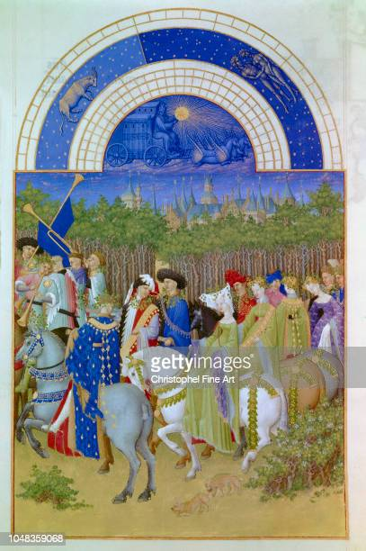 Pol De Limbourg Les tres riches heures du Duc de Berry May The Palace of Riom Chantilly Conde Museum