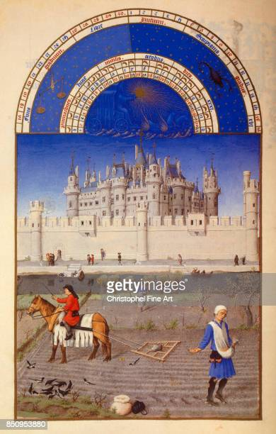 Pol De Limbourg Les tres riches heures du Duc de Berry October Sowing Chantilly musee Conde